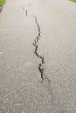 Long crack in a narrow asphalt path Royalty Free Stock Images