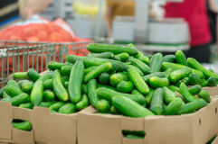 Long cucumbers in box in supermarket Royalty Free Stock Image