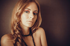 Long curly brown hair Royalty Free Stock Photo
