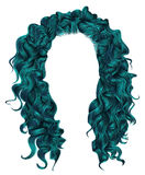 Long curly hairs blue colors .  beauty fashion style  wig . Stock Images