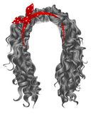 Long curly hairs gray colors.beauty fashion style.wig .red bow. Long curly hairs gray. colors.beauty fashion style.wig .red bow. beauty fashion royalty free illustration