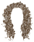 Long curly hairs  light blond  colors .  beauty fashion style . wig . Stock Photos