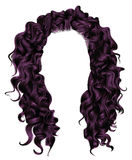 Long curly hairs purplecolors  .  beauty fashion style . wig . Royalty Free Stock Photography