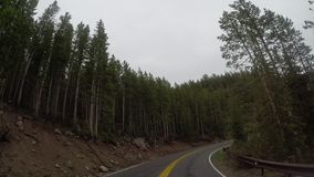 Long Curve in Wyoming Mountains. On cloudy day stock footage