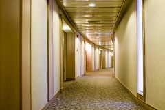 Long curved hallway Stock Photo