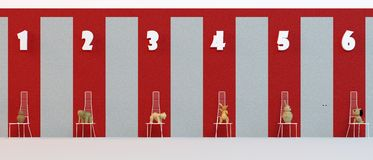 Long 3d childhood corridor. With wooden toys on the chairs Stock Photo