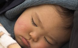 Long Day. Baby sleeping after a long day out royalty free stock images