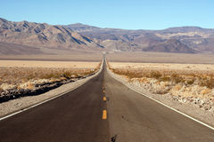 Long Desert Two Lane Highway Death Valley California Royalty Free Stock Image