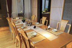 Long dining room table Royalty Free Stock Image