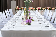 Long dinner table Royalty Free Stock Photography