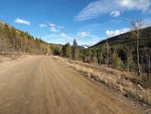 A long dirt road in the Colorado Mountains. stock image