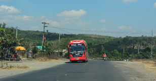 A long-distance bus on street in Dalat, Vietnam Royalty Free Stock Photos