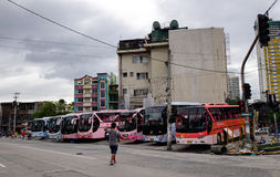 Long-distance buses at the station in Manila, Philippines.  royalty free stock photography