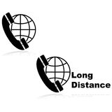 Long distance calling. Icons showing a telephone in front of a globe, indicating long distance calls Royalty Free Stock Images