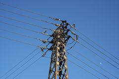 Long-distance high-voltage power transmission tower royalty free stock image