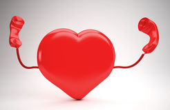 Long distance relationship. A huge red  heart using the phone Stock Images