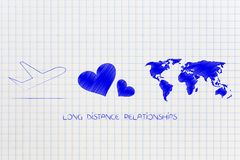 Long distance relationship airplane with lovehearts and world ma Stock Photography
