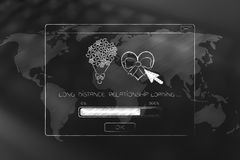 Long distance relationship pop-up with love-themed icons loading Stock Image