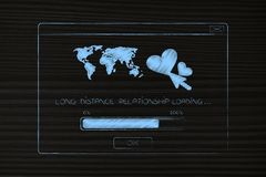 Long distance relationship pop-up with lovehearts and worldmap w. Long distance relationship concept: pop-up message with lovehearts and worldmap with text Stock Photo