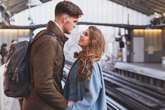Long distance relationship, couple at the train station Royalty Free Stock Photography