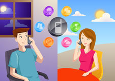 Long distance relationship. A man and a woman from different places and timezone talking over the phone Royalty Free Stock Images