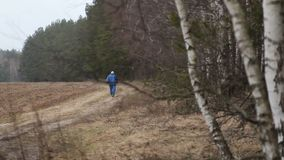 The long distance runner. On forest road stock video footage