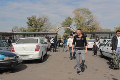 Long distance taxi station in Tashkent, Uzbekistan, people Royalty Free Stock Images