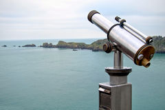 Long Distance Tourist Viewing Scope on Sea Coast Stock Photo