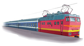 Long-distance train. The red locomotive to be at platform Royalty Free Stock Images