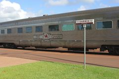 Long distance train The Ghan is waiting for passengers, railway station Darwin, NT Australia Royalty Free Stock Photography