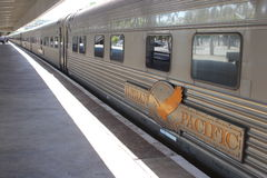 Long distance train the Indian Pacific is waiting for passengers, railway station Perth, Australia. Public transport by long distance train The Indian Pacific in Stock Photo