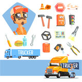 Long-Distance Truck Driver And Elements Related To This Job Stock Images