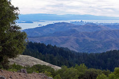 Long distance view of San Francisco. Taken from a top in Mt. Tamalpais State Park royalty free stock images