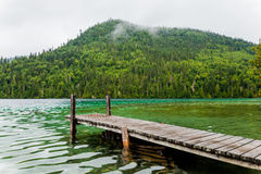 Long Dock and Amazing View of a Lake Stock Images