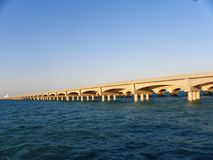 Long dock of big arches in the port of Progreso, Yucatan Stock Image