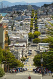 Long Downhill Street In San Francisco Stock Photos