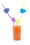 Long drink glass with funny straws Royalty Free Stock Images