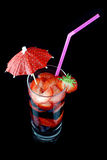 Long drink glass with summer fruits Stock Photos
