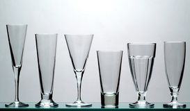 Long drink glasses. Various long drink glasses Stock Image