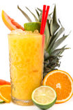 Long drink orange coctail with citruses Stock Photo