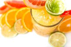 Long drink orange coctail with citruses Royalty Free Stock Photos