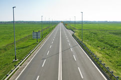 Long empty freeway. In the morning royalty free stock photos