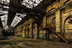 Long and empty industry hall stock photography