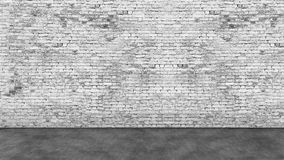 Long empty white brick wall and foreground Royalty Free Stock Photo