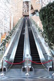 Long Escalator with Christmas Theme Stock Image