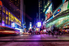 Long exposure of activity in Times Square, New York City Royalty Free Stock Photos
