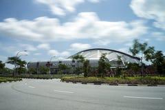 Long exposure of Aquatic Centre and Sports Hub. Royalty Free Stock Photo