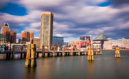 Long exposure of the Baltimore Inner Harbor Skyline Stock Image