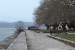 A view of Pamvotis lake, Ioannina Greece stock photo