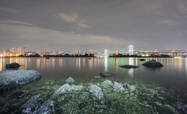 Long exposure of bay and Rainbow bridge from Odaiba, Nightview Stock Images